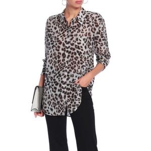 Leopard print cotton and silk blended shirt